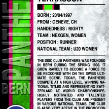Disc Club Panthers ultimate player card (verso)